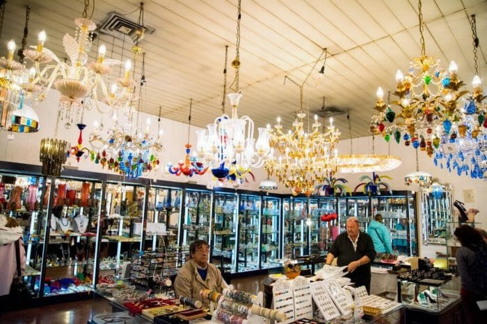 Glass chandeliers at the Murano Glass Factory
