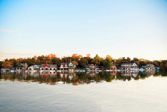 Boathouse Row in Philadelphia in fall