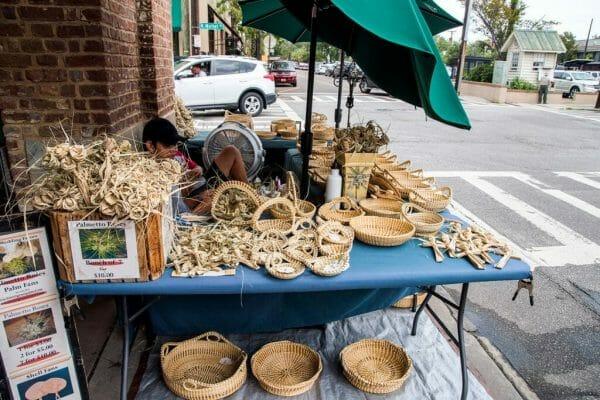 Sweetgrass baskets in Charleston
