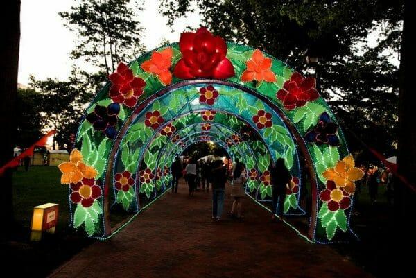 Chinese lantern flower arch