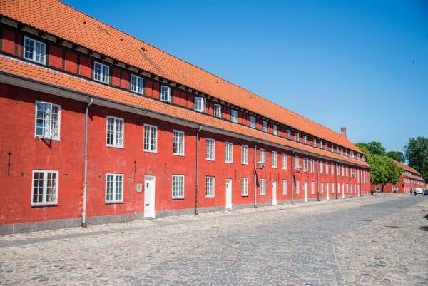 Red buildings in Kastellet in Copenhagen