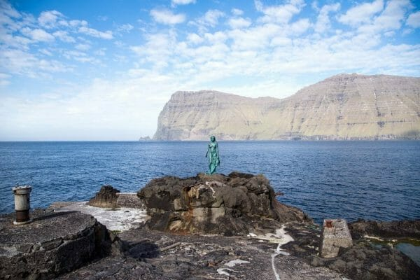 Seal woman statue in Kalsoy in the Faroe Islands