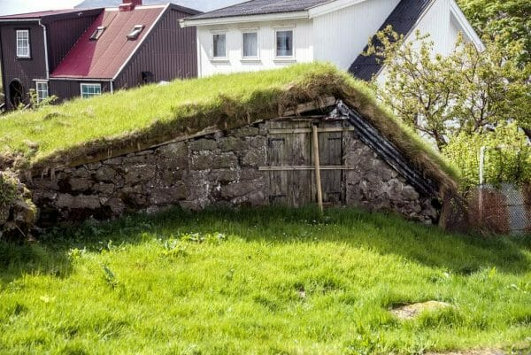 Grass roof shed in the Faroe Islands