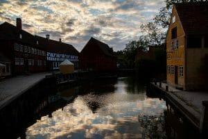 Old Town Aarhus at sunset