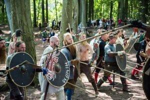 Vikings fighting at the Moesgård Viking Moot in Aarhus