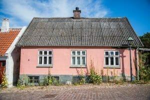 Pink house in Ebeltoft, Denmark