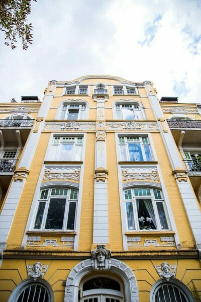 Yellow Victorian house in Hamburg