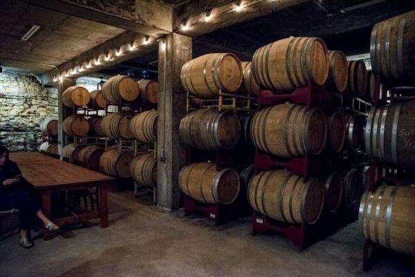 Limestone cellars in Hawk's Shadow Winery in Austin
