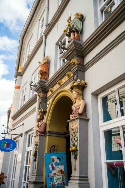 German architecture with statues