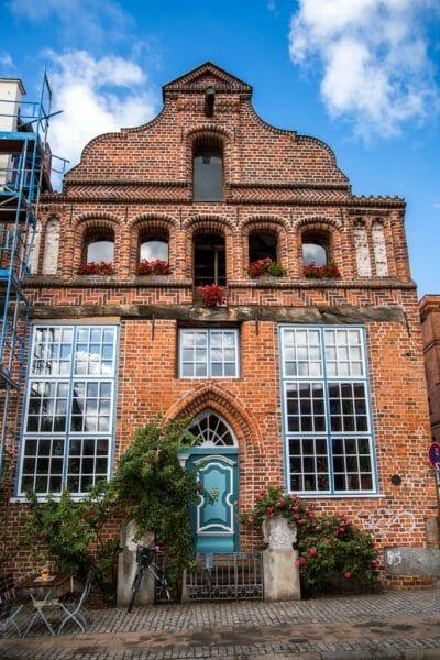 Historic German house with blue door