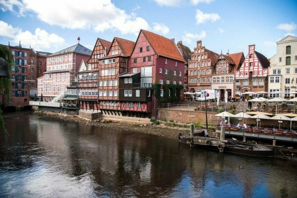 Houses in river in Luneburg