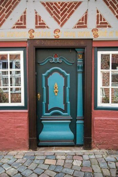 Decorative blue door in Germany