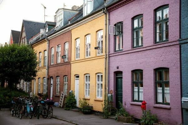 Colorful houses in Olufsvej in Copenhagen