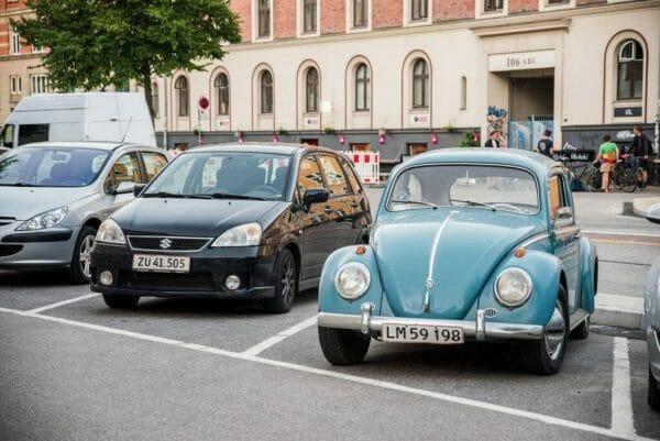 Teal VW Bug in Copenhagen