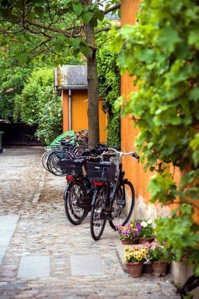 Bikes lined up in Copenhagen