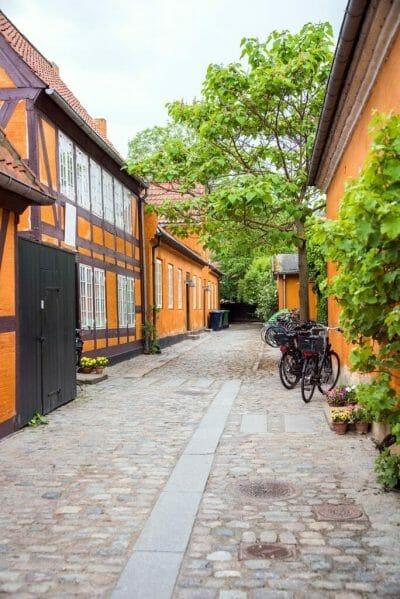 Alleyway with orange houses in Copenhagen