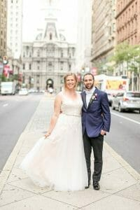 Wedding portraits in front of City Hall in Philadelphia