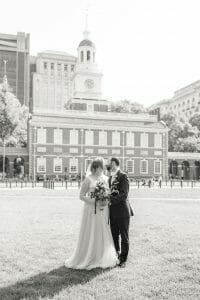 Wedding portraits in front of Independence Hall Philadelphia