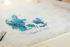 Denmark map guest signing book for wedding