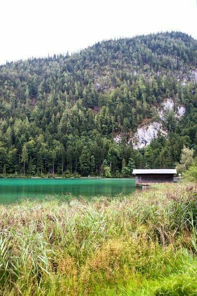 Cabin on green lake in Austria