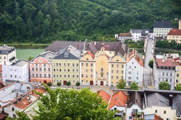 Colorful buildings in Burghausen