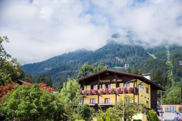 Yellow chalet in Austrian Alps