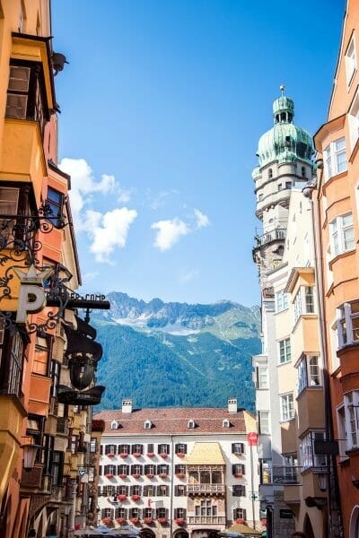 Golden Roof in Innsbruck with mountains
