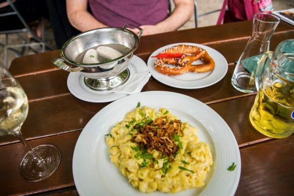 White sausages and spaetzle at St. Bartholomew's restaurant on Lake Konigssee