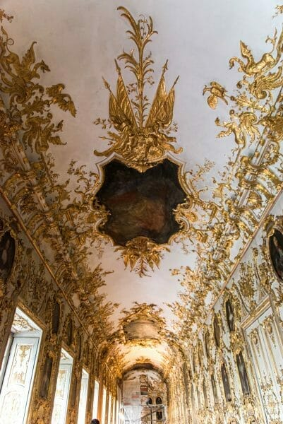 Golden artwork on ceiling in Residenz