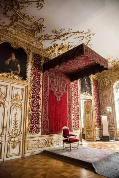 Red and gold canopy over throne