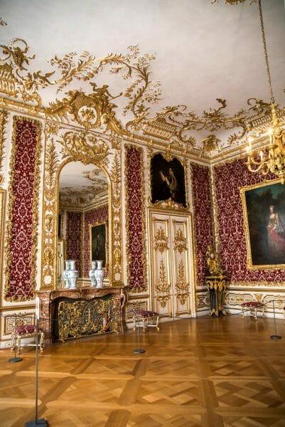 Room with red velvet wallpaper