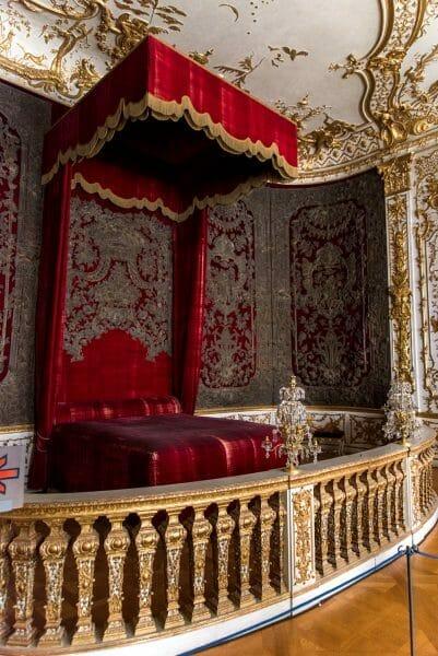 Red velvet canopy bed