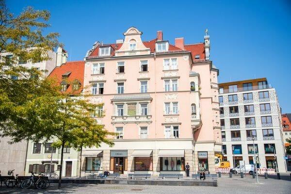 Pink Victorian building in Munich
