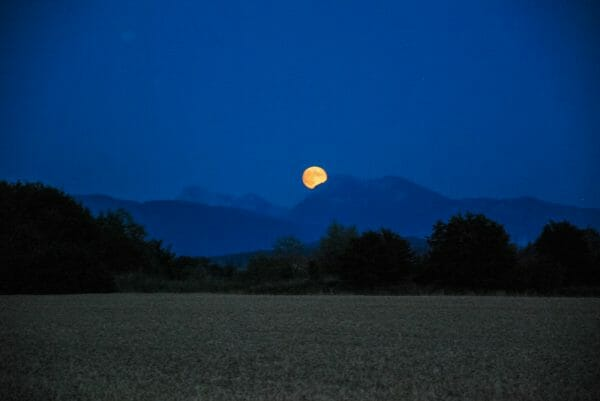 Moon over the Alps in Germany