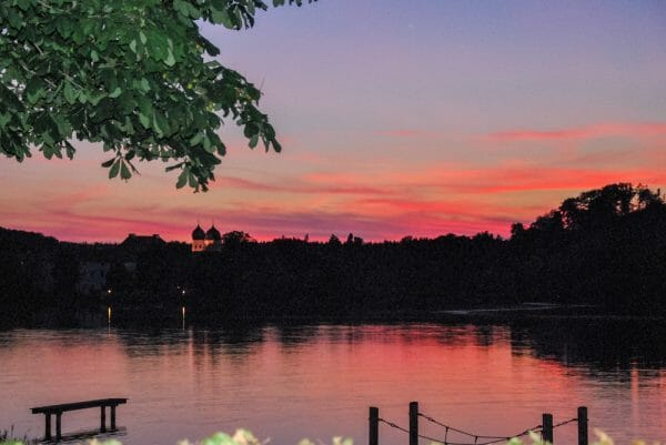 Sunset over the water in Bavaria