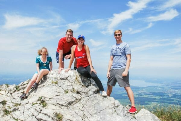 Group hiking in the Alps in Bavaria