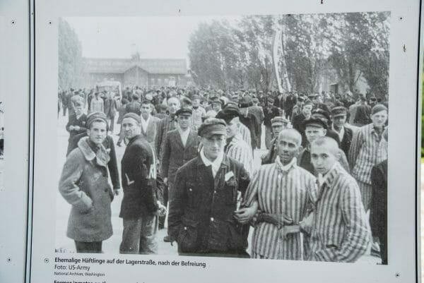 Picture in Dachau of Holocaust victims