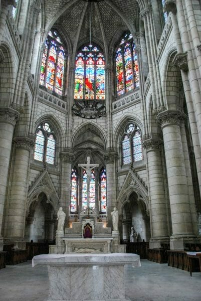 Stained glass windows in cathedral in Nantes