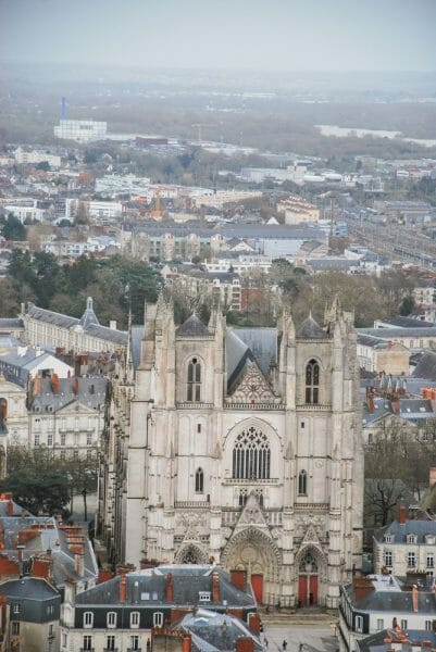 Aerial view of cathedral in Nantes
