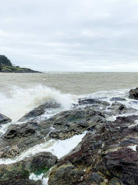 Waves crashing on rocks in Pornic, France
