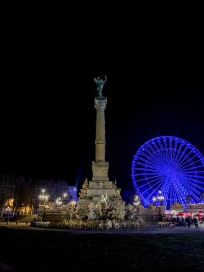 Monument aux Girondins at night in Bordeaux