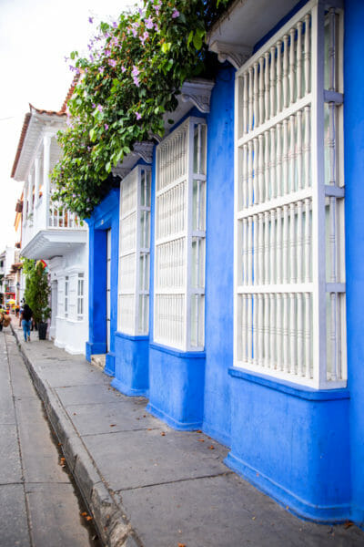 Historic blue houses in old city Cartagena