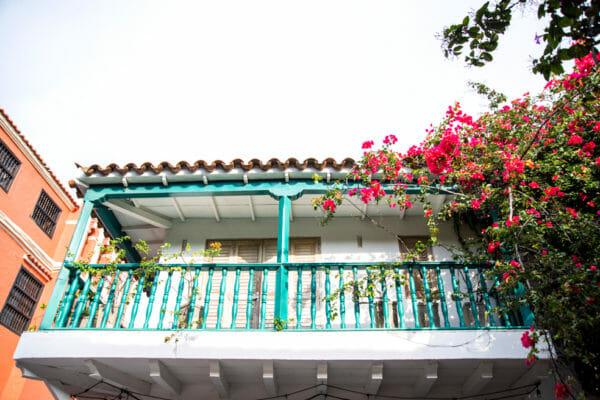 Historic balcony in old city Cartagena