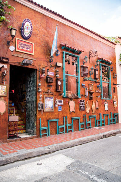 Historic colorful houses in old city Cartagena