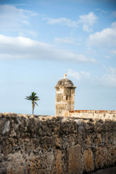 Stone wall in old city Cartagena