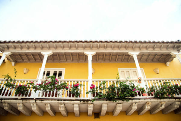 Yellow houses in old city Cartagena