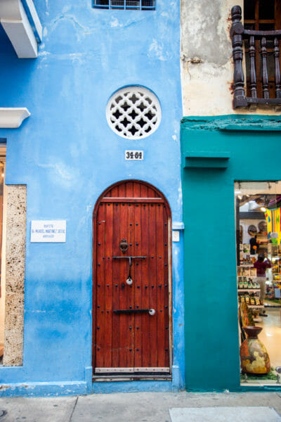 Blue houses in old city Cartagena