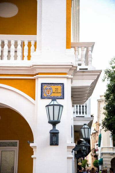 Historic street marker in old city Cartagena