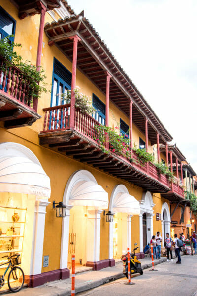 Historic houses in old city Cartagena