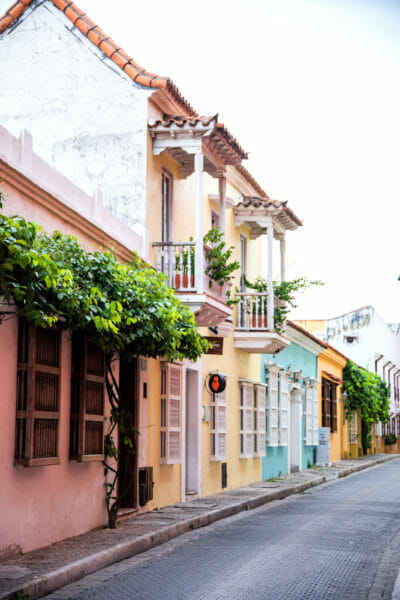 Colorful houses in old city Cartagena
